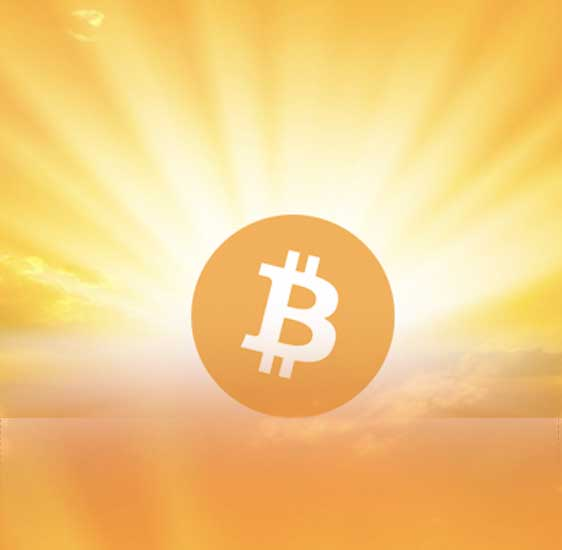Bitcoin in fron of the light